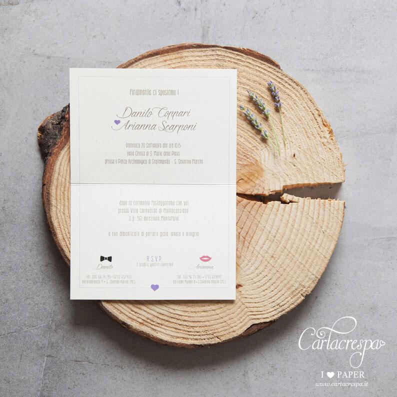 Partecipazioni Matrimonio Stile Rustico : Partecipazione lavanda stile country cartacrespa