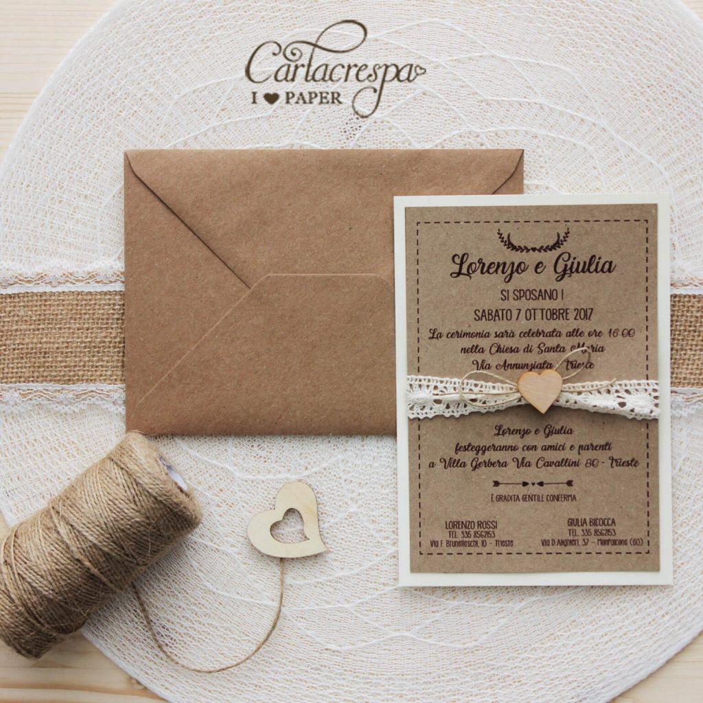 partecipazione nozze country con pizzo e carta kraft e legno