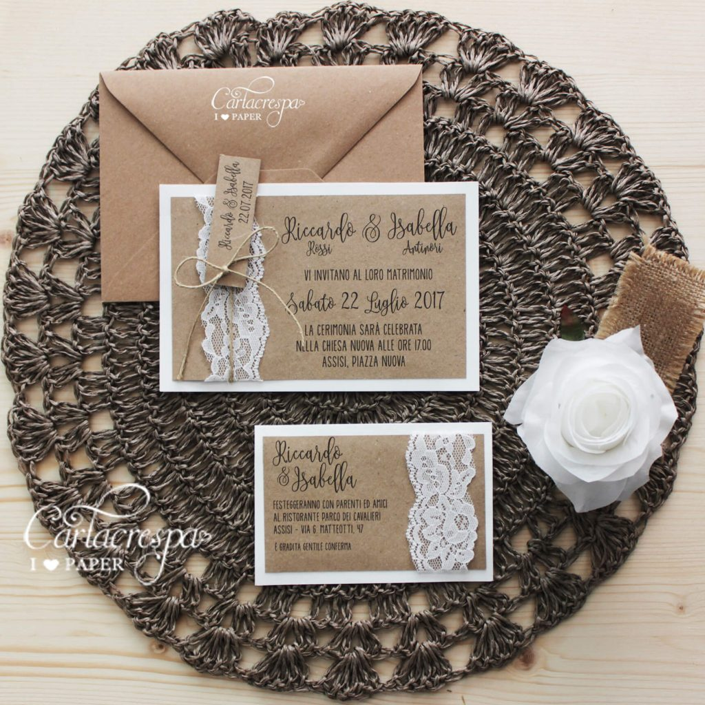 partecipazione nozze rustica elegante con pizzo e carta kraft